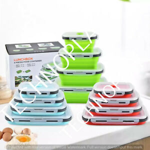 4pc Portable Collapsible Folding Silicone Food Storage Lunch Container Bento Box
