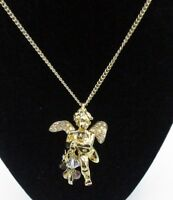 Kirks Folly Necklace Rhinestone Crystal Gold Tone Angel Cherub Dangle Shiny Rare