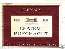 Etiquette de vin - Wine Label - Château Puychagut - Bordeaux 1989