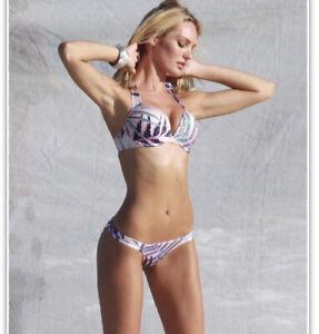 Victoria Secret Swim Bikini Top 36B S Sequins Bling Gems Bombshell Push Up Rare