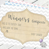 Baby Shower Winners Certificates Baby Shower Games Party Game Prize Boy Girl