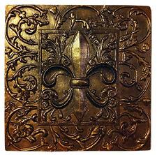Fleur de Lis Lys Leis Leaf Decorative Backsplash Tile in Antique Bronze Color