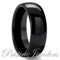 🔥 Black Tungsten Carbide Dome Wedding Band Mens Womens Comfort Fit Promise Ring