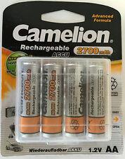 4x Akku Mignon AA 2700mAh Ni-MH Camelion HR6 2700 1,2V Aufladbar Batterie + Box