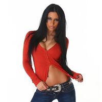 Sexy Damen Strickjacke Jacke kurz Cardigan Knopfleiste Rot Dunkelrot 34 36 38