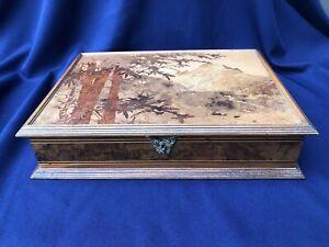 Very Nice & Fine Galle Marqueterie Large Wooden Box Art Nouveau Original 1900