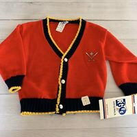RGEE Originals Vintage Boys 4T Cardigan Sweater Baseball 1970s Red