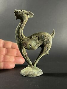 ANCIENT ROMAN BRONZE DEER ON STAND WITH BEAUTIFUL DETAILING - CIRCA 200-300AD