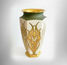 Bernardaud and Co Limoges vase art deco gold iris design  FREE SHIPPING