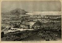 Palermo Sicily Sicilia Southern Italy birds-eye city view 1860 wood cut print