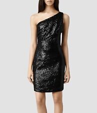 "**ALLSAINTS ""CASSIS"" ONE SHOULDER BLACK DRESS SIZE ""8"" (US)/""12""(UK) WITH TAGS!"