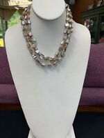 "Vintage White Mother Of Pearl Irregular Beaded Three Strand Necklace 16"" Nice !"