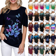 Plus Size Women Summer Cold Shoulder Baggy T-Shirt Casual Tops Tee Shirts Blouse