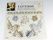 US SELLER-tiger Golden Silver Flash Metallic temporary tattoos for sale