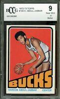 1972-73 Topps #100 Kareem Abdul-Jabbar Card BGS BCCG 9 Near Mint+