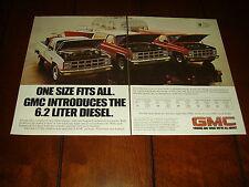 1982 GMC 6.2 DIESEL PICK UP BLAZER SUBURBAN  ***ORIGINAL 2 PAGE AD***
