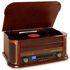 (RICONDIZIONATO) Auna Impianto Stereo Giradischi Retrò Vintage Bluetooth Complet