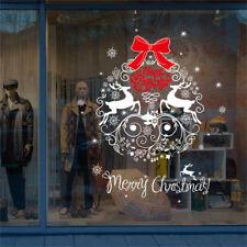 Christmas Snowflake Deer Bowknot Shop Window Wall Art Decoration Sticker Decal