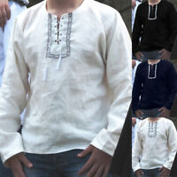 Men's V Neck Lace up Soft Ethnic Long Sleeve Vintage Casual Shirts T Shirts Tops