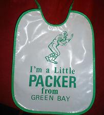 Vintage Green Bay Packers plastic Baby Bib Hong Kong w stickers NOS