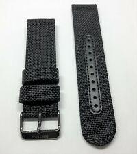 Original Seiko 22mm SSC233 Black Nylon Canvas Watch Band Strap