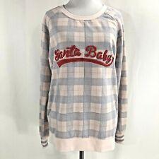 Honeydew Womens Santa Baby Sweater Size Medium M Sleepwear Top Pink Plaid Pink
