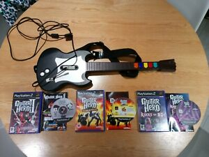 Ps2 Red Octane Wired Guitar Hero Guitar + 3 Complete Games!