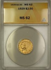 1929 $2.50 Indian Quarter Eagle Gold Coin ANACS MS-62