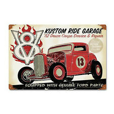 1932 Ford Deuce Coupe Kustom Hot Rat Rod Retro Vintage Sign Blechschild Schild