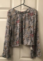 Melrose And Market Women's Bell Sleeve Shirt Floral Buttons Down Back Small