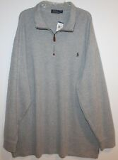 Polo Ralph Lauren Gray 1/2 Zip French Rib Cotton Sweater NEW $125 L
