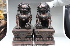 China lucky Feng Shui Copper red bronze Evil Door Guardian Fu Foo Dog Lion Pair