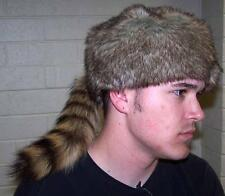 2 ADULT SIZE RACCOON TAIL HAT fur raccoons animal tails novelty cap NEW HATS