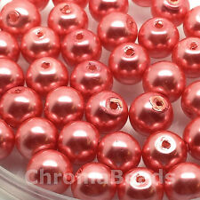 8mm Glass faux Pearls - Dusky Pink (50 beads), pearl beads, jewellery making
