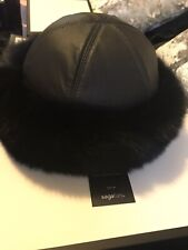 Real Black Fox Fur Roller Winter Hat, Black Leather Top