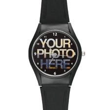 Black Plastic Personalised Unisex Photo Watch with a Gift Box Custom Logo Design