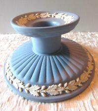 Wedgwood Jasperware Oak Leaf Design With Fluted Base Blue Candle Holder-England