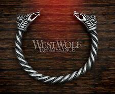 Silver Viking Dragon Bracelet/Torc/Torque -- Norse/Medieval/Jewelry/Skyrim NEW
