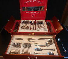 "Old large housewife 73 piece stainless steel ""royalty line"" switzerland"