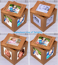 PERSONALISED WOODEN Oak Multiple PHOTO Frame Cube Keepsake BOX Unusual Gift Idea