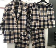 Monki Navy Beige Check Co-ord Suit Trousers Blazer Skirt Bundle 3 Piece Small