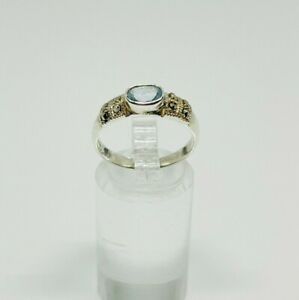 Gorgeous Aqua Blue Topaz & Marcasite Band Ring 925 Silver Size O~O1/2 #14801