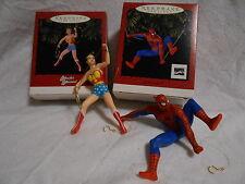 Two Hallmark Keepsake Ornaments.  Spiderman, Wonder Woman MIB 1996 Lot