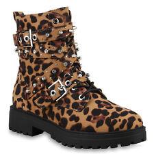 Damen Stiefelette Plateau Boots Warm Gefütterte Stiefel Leo Prints 825733 Schuhe