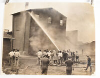1940's Fireman Photo Philadelphia 10 x 8 Fighting Fire In A Small Factory V38