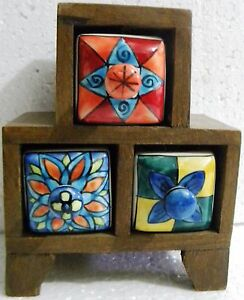 Wooden Ceramic Drawers Indian Hand made 3 Drawers Hand Painting Beautiful Box