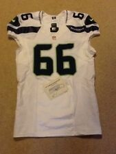 Seattle Seahawks Andru Pulu Game Used Team Issued White Away Jersey 2012