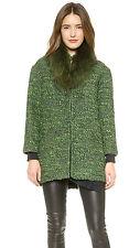 NWT NEW Alice + Olivia Fur Collar Coat Jacket Emerald size M Medium $898