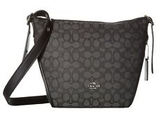 COACH Signature Dufflette Cross-body Shoulder Bag Black Jacquard Leather Silver