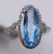 Ladies Solid 14k White Gold Genuine Blue Topaz Ring With Diamonds 3.50ctw